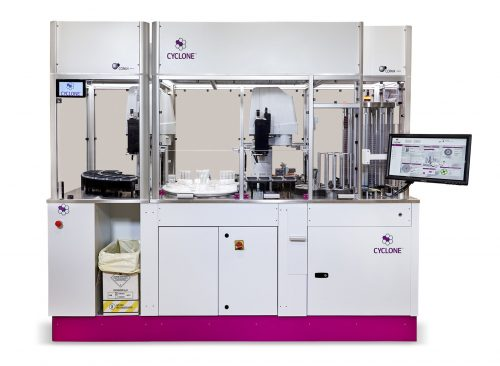 Food Safety Automation CYCLONE™ Fully Automated Instrument for Pour Plating, Spiral Plating, and Spreading Liquified Samples for the Food Safety Industry.