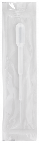 104mm Disposable Transfer Pipet w/ Fine Tip - Non-Graduated with 1.0 mL Bulb Draw and 50 drops/mL - Individually Wrapped, Sterile